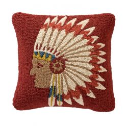 - Chief's Concho - Hooked Wool Pillow