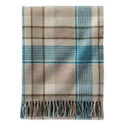 - Hampshire Plaid Lambswool Throws with Leather Carrier