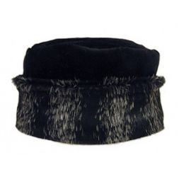 - Faux Animal Black Hat with Cuff